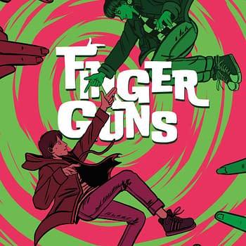 Finger Guns #2 Cover- Vault Comics, creative team: Justin Richards, Val Halvorson, Rebecca Nalty, Taylor Esposito