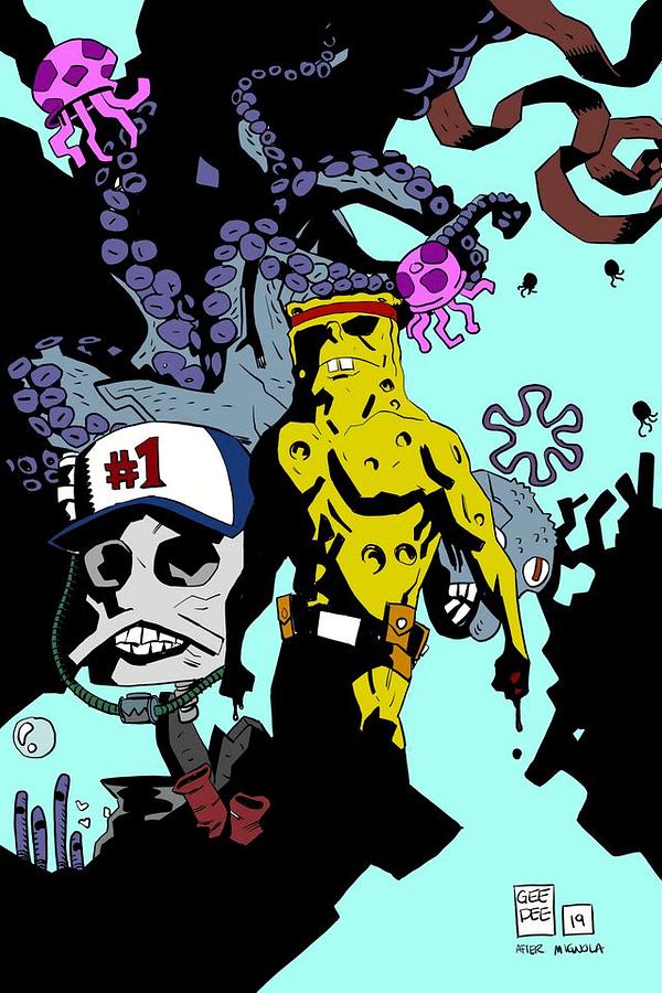 What If Hellboy's Mike Mignola Drew Spongebob Squarepants?