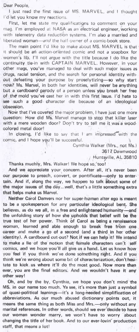 Fans React to Captain Marvel's Radical Feminist Identity Politics – From 1977