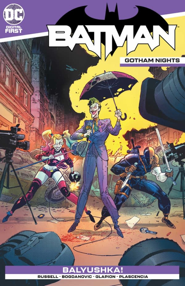 The cover of Batman: Gotham Night #6 published by DC Comics with the creative team of Mark Russell, Victor Bogdanovic, Jonathan Glapion, and Ivan Plascencia.