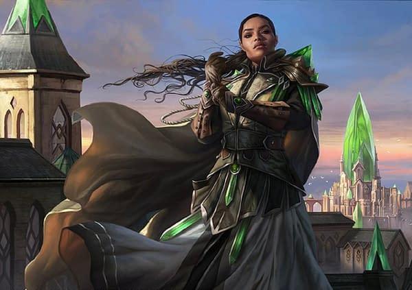 The artwork for Jirina Kudro, a legendary creature in Magic: The Gathering, illustrated by Magali Villaneuve.