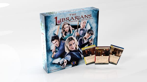 The box for The Librarians: Adventure Card Game by game publisher Everything Epic.