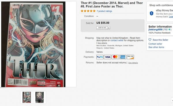 Thor #1 Just Sold for $55 on eBay