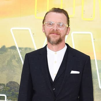 "Simon Pegg at the UK premiere for ""Once Upon A Time In Hollywood"" in Leicester Square, London. Editorial credit: Featureflash Photo Agency / Shutterstock.com"