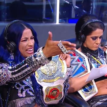 Sasha Banks and Bayley show up Michael Cole and Corey Graves on commentary