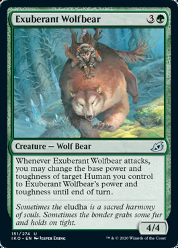 Exuberant Wolfbear, a new card from the Ikoria: Lair of Behemoths set for Magic: The Gathering.