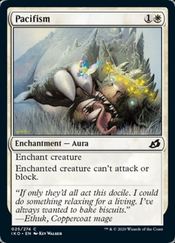 Pacifism, a reprinted card from Ikoria: Lair of Behemoths for Magic: The Gathering.