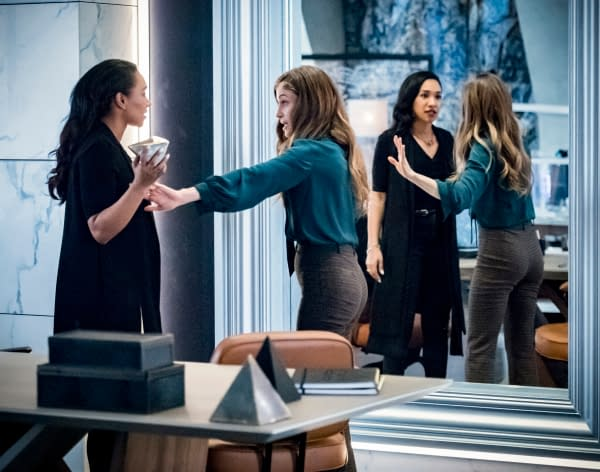 Candice Patton as Iris West - Allen and Efrat Dor as Eva in The Flash, courtesy of The CW.