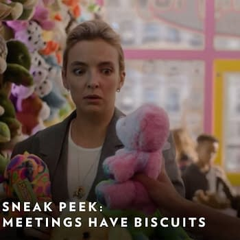 Jodie Comer as Villanelle making an interesting purchase in Killing Eve, courtesy of BBC America.