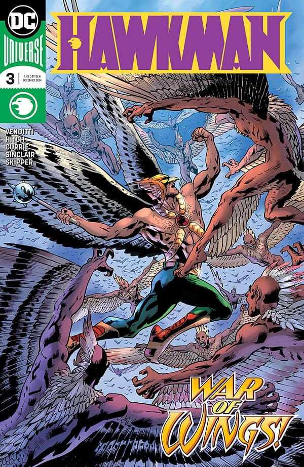 Hawkman #3 cover by Bryan Hitch and Alex Sinclair