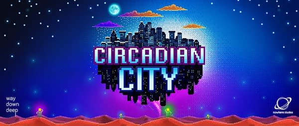 The logo header for Circadian City, an indie city-life simulator by publisher Way Down Deep and developer Nowhere Studios.
