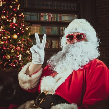 non-traditional holiday Santa Claus Peace Sign and Heart Sunglasses