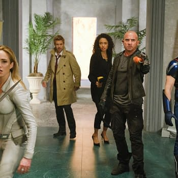 "Legends of Tomorrow -- ""Swan Thong"" -- Image Number: LGN515c_0473b.jpg -- Pictured (L-R): Caity Lotz as Sara Lance/White Canary, Matt Ryan as Constantine, Olivia Swan as Astra, Dominic Purcell as Mick Rory/Heatwave and Nick Zano as Nate Heywood/Steel -- Photo: Bettina Strauss/The CW -- © 2020 The CW Network, LLC. All Rights Reserved."