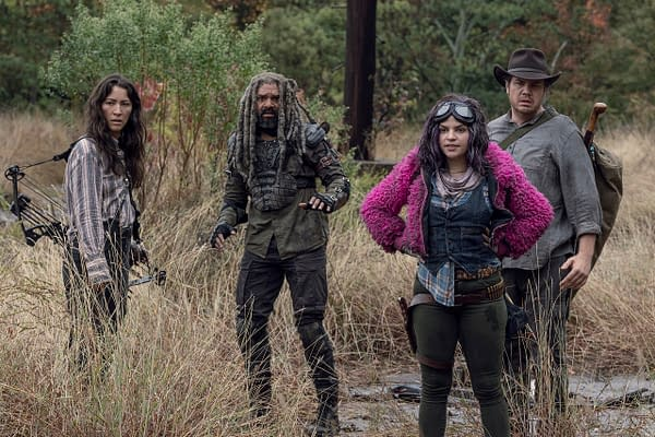 Ezekiel, Yumiko, Eugene, and Princess take a detour through a minefield on The Walking Dead, courtesy of AMC.