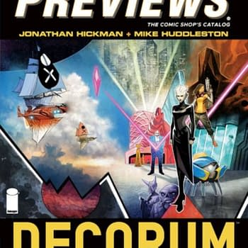 Jonathan Hickman and Mike Huddleston's New Image Comic, Decorum, on Front of Next Week's Diamond Previews