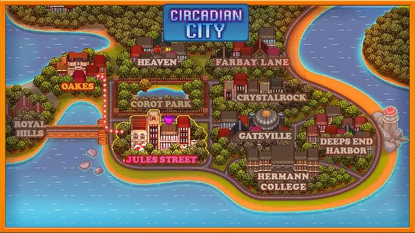 The upscale map of Circadian City, as it appears in its namesake indie game.