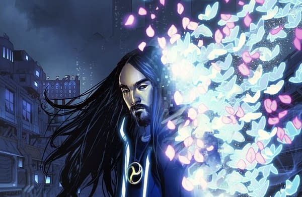 Artwork from the cover of Neon Future, the new Steve Aoki comic. Credit: Impact Theory Comics.