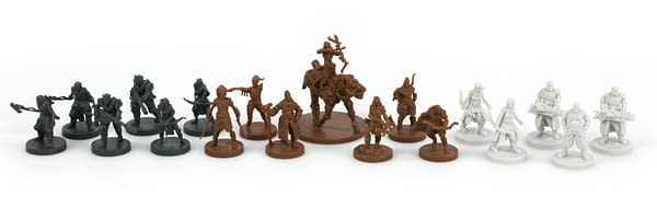 A bunch of Kickstarter-exclusive miniatures for Horizon Zero Dawn: The Board Game, by Steamforged Games.