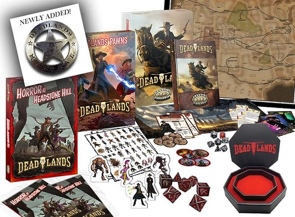 An array of the wonderfully-weird items that you could get by backing the Deadlands Kickstarter!