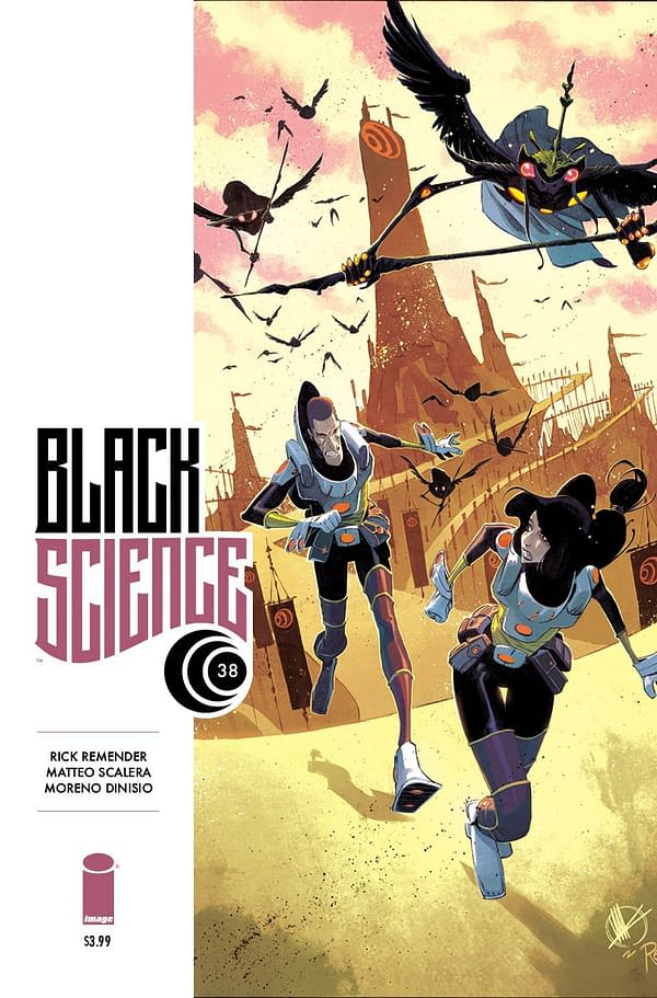 Black Science #38 cover by Matteo Scalerea and Moreno Dinisio