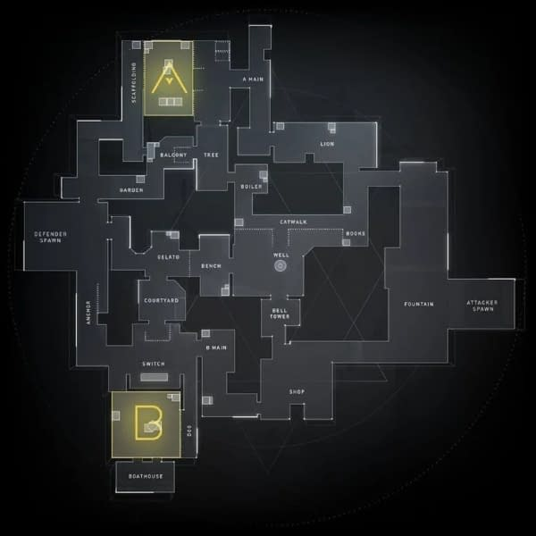 A look at the Ascent map for Valorant's launch, courtesy of Riot Games.