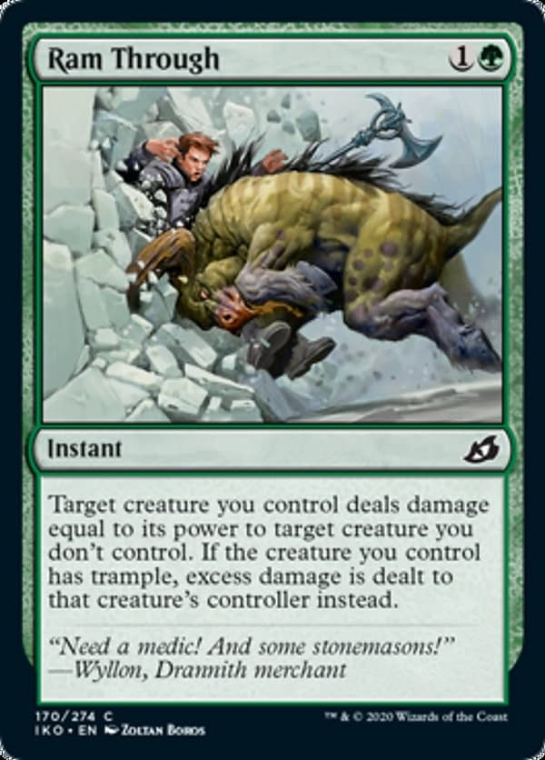 Ram Through, a new card from the Ikoria: Lair of Behemoths set for Magic: The Gathering.