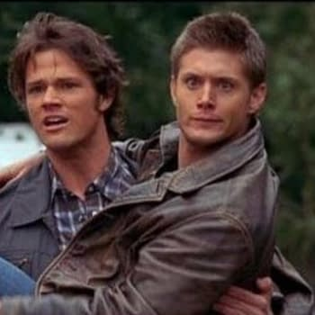Jensen Ackles and Jared Padalecki clowing around on the Supernatural set, courtesy of The CW.