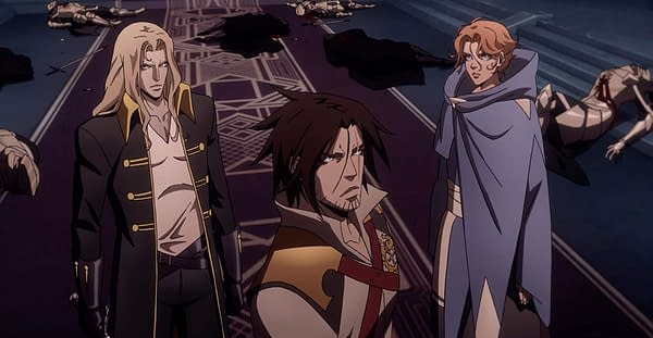 Alucard and his allies consider their next move in this scene from Castlevania, courtesy of Netflix