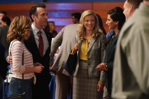 Cynthia Evans as Denise Zarick, Joe Knezevich as William Zarick, Amy Smart as Barbara Whitmore and Hina Khan as Principle Bowin on Stargirl, courtesy of The CW.
