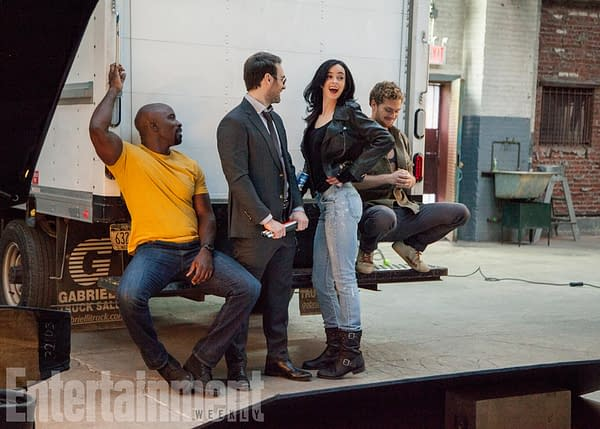 BTS of THE DEFENDERS photoshoot. December 10, 2016