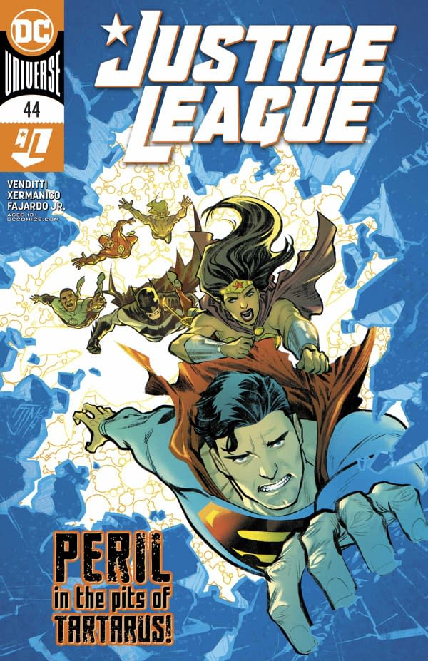 Justice League #44 cover published by DC Comics with a creative team of Robert Venditti, Xermanico, Romulo Fajardo Jr. and Tom Napolitano.