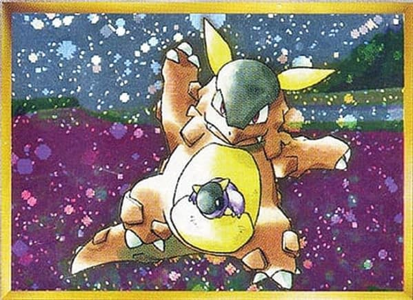 The artwork for the promotional Kangaskhan from the Parent/Child Mega Battle of the Pokémon Trading Card Game. Illustrated by Ken Sugimori.