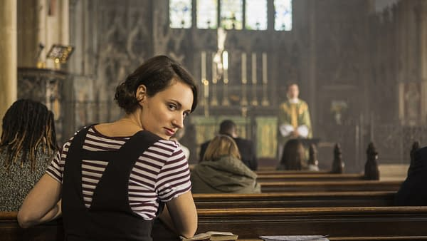 Phoebe Waller-Bridge has more than one reason for attending service in Fleabag, courtesy of BBC.