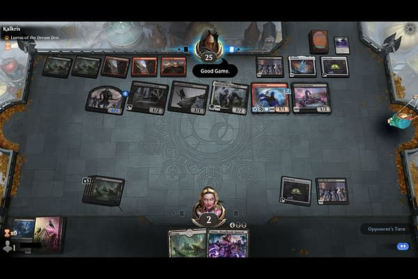 "An example of a player using the ""Good Game"" emote in Magic: The Gathering: Arena. (Screencap credit: Josh Nelson)"
