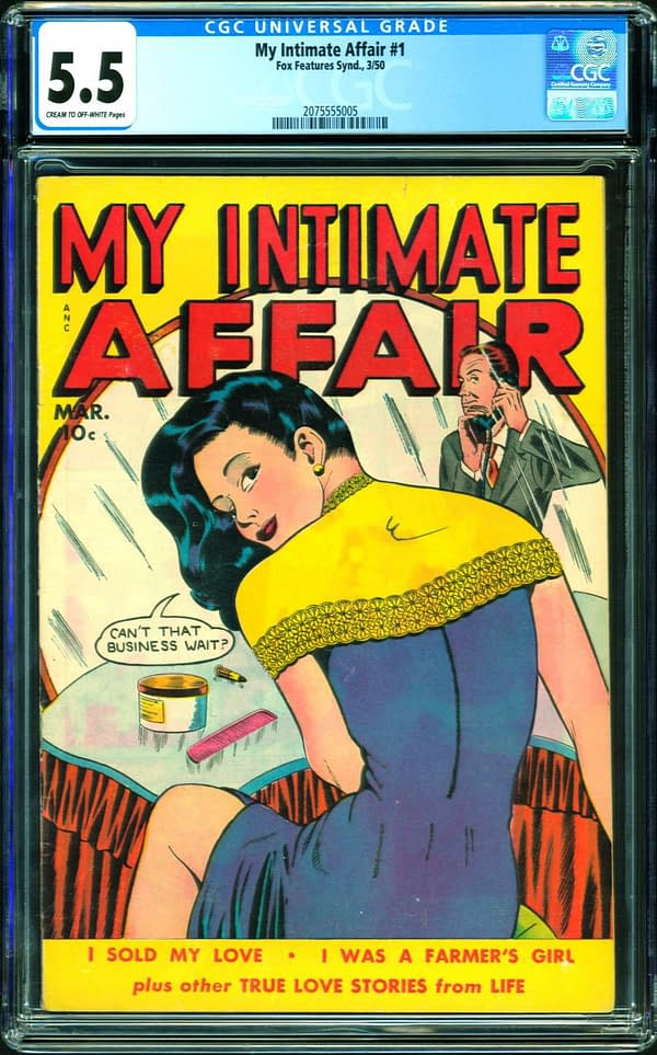 The copy of My Intimate Affair #1 up for auction on ComicConnect. Image Credit: ComicConnect