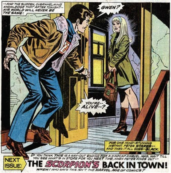 Peter Parker's Original Response to the Return of Gwen Stacy.