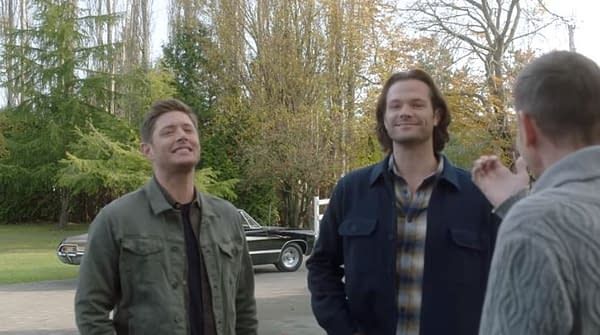 Jensen Ackles and Jared Padalecki crack up on the set of Supernatural, courtesy of Shaving People Punting Things.