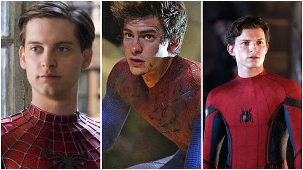 Tobey Maguire, Andrew Garfield, and Tom Holland as Spider-Man. Images courtesy of Sony