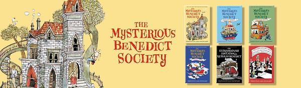 Voici un aperçu des livres de la Mysterious Benedict Society, avec la permission de Little, Brown and Company.