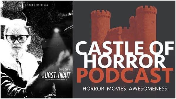 L-R: L'affiche officielle de The Vast of Night et le logo officiel du Castle of Horror Podcast.