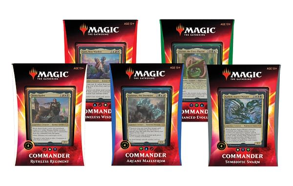The boxes for Commander 2020's pre-constructed decks, available now.