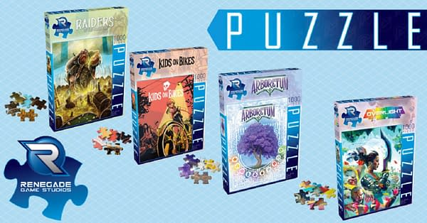 A selection of boxes featuring the puzzles of Renegade Game Studios.