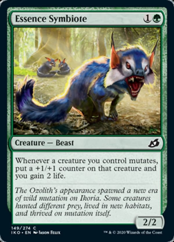 Essence Symbiote, a new card from the Ikoria: Lair of Behemoths set for Magic: The Gathering.