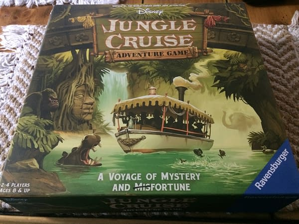 The front lid from the box for Disney's Jungle Cruise Adventure Game, a board game by Ravensburger.