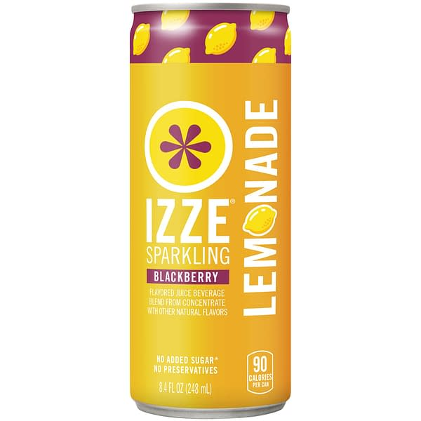 A can of IZZE Sparkling Lemonade, blackberry flavored.