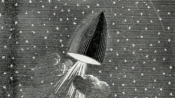 Lakeside Library Vol 3 #66, published by Donnelley, Loyd & Co in 1880 features Jules Verne's manned space mission.