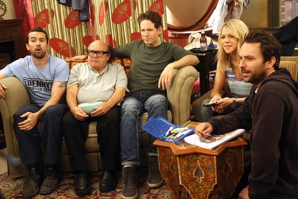 """IT'S ALWAYS SUNNY IN PHILADELPHIA -- """"Dee Made a Smut Film"""" -- Episode 1104 (Airs Wednesday, January 27, 10:00 pm e/p) Pictured: (l-r) Rob McElhenney as Mac, Danny DeVito as Frank, Glenn Howerton as Dennis, Kaitlin Olson as Dee, Charlie Day as Charlie. CR: Patrick McElhenney/FX"""