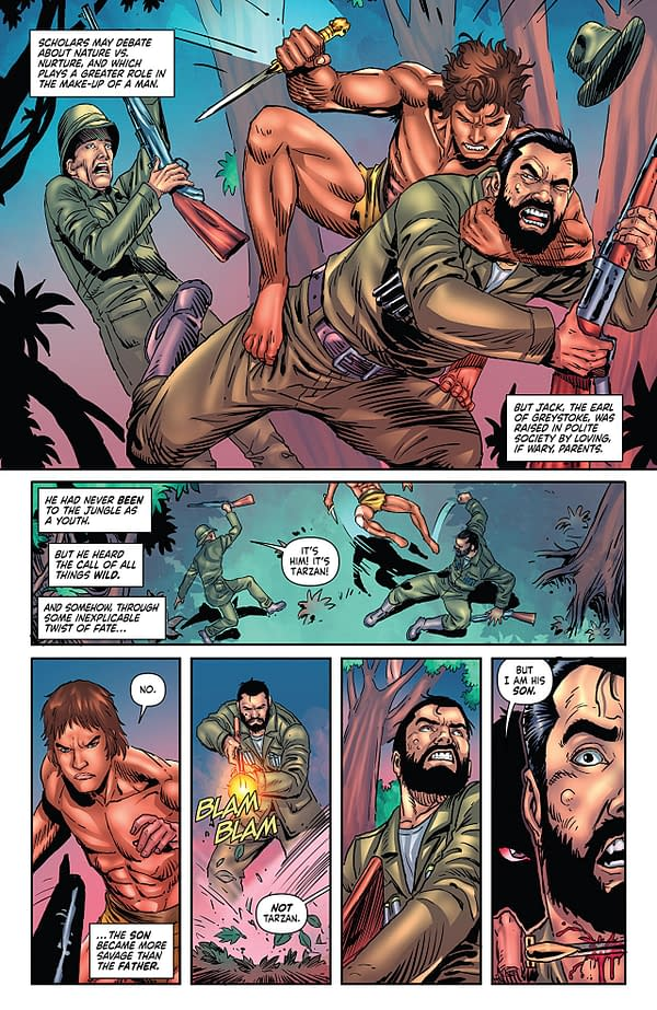Red Sonja/Tarzan #3 art by Walter Geovani and Adriano Augusto
