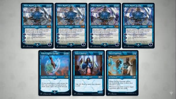 Note that there are four different arts of Teferi, Master of Time, with three different frames. That's twelve versions of this mythic rare!
