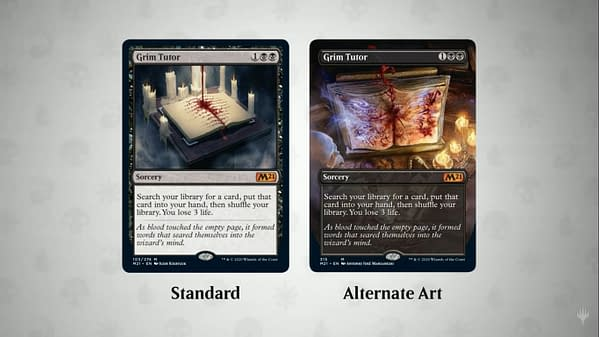 Two versions of Grim Tutor for Magic: The Gathering's Core 2021 expansion set.